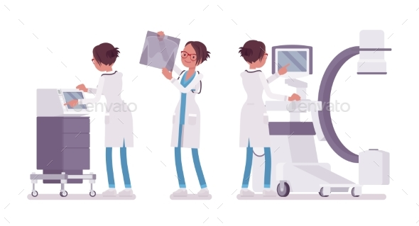 Female Doctor X-raying - Health/Medicine Conceptual
