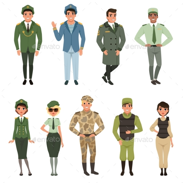 Military Uniforms Set, Military Army Officer - People Characters