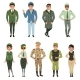 Military Uniforms Set, Military Army Officer