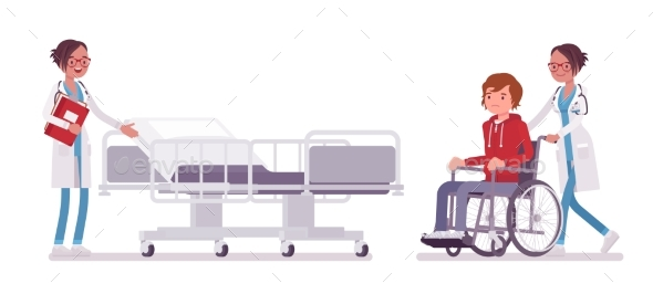 Female Doctor and Hospitalized Patient - Health/Medicine Conceptual