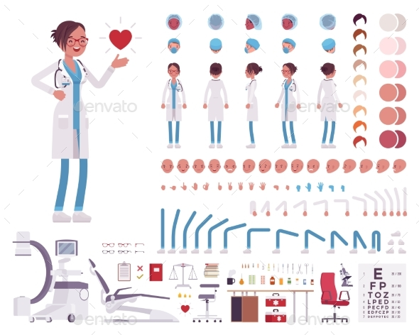 Female Doctor in White Clinic Uniform Character - Health/Medicine Conceptual