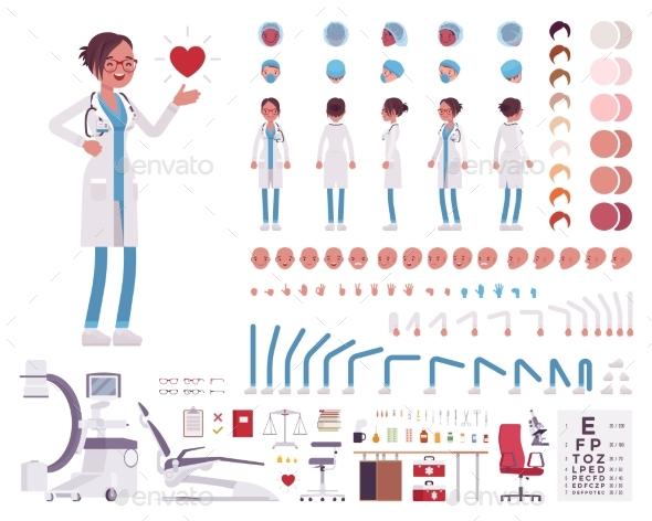 Female Doctor in White Clinic Uniform Character - Health/Medicine Conceptual