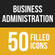 50 Business Administration Filled Low Poly B/G Icons