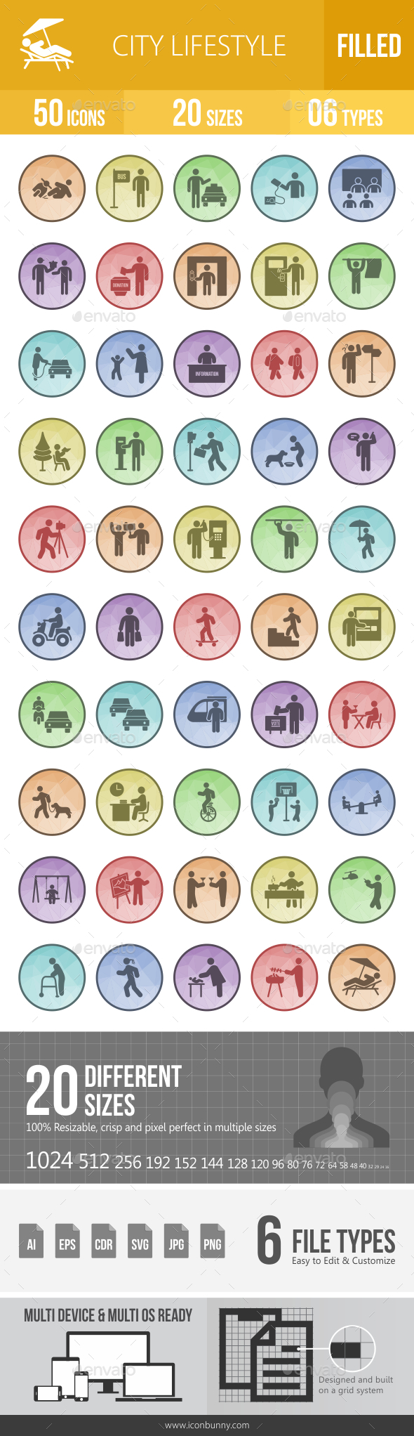 50 City Lifestyle Filled Low Poly Icons - Icons