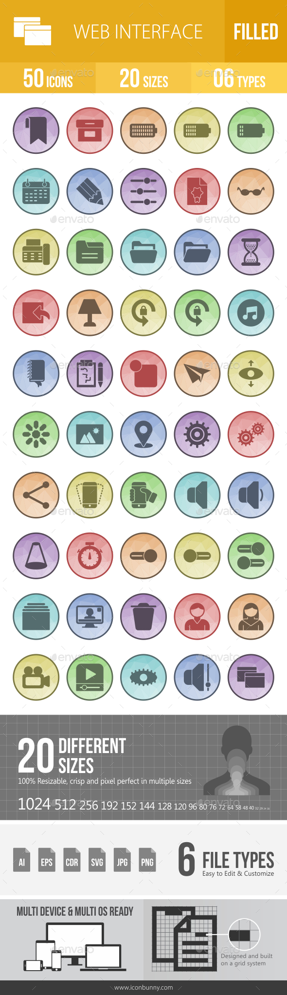 50 Web Interface Filled Low Poly Icons - Icons