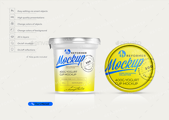 Yogurt Cup Mockup 400g - Food and Drink Packaging