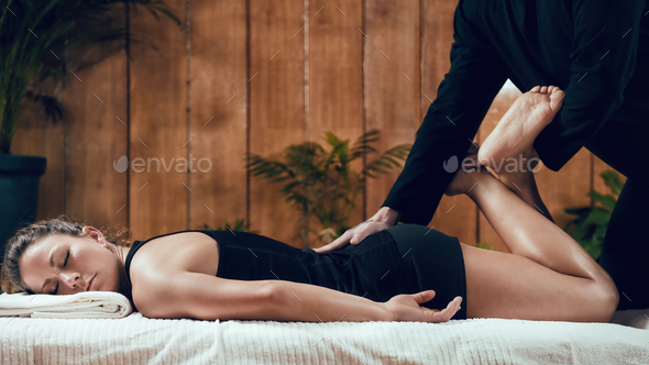 Shiatsu Back and Leg Massage - Stock Photo - Images