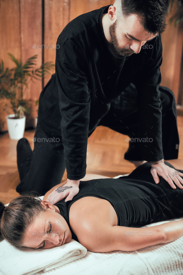 Shiatsu Back Massage - Stock Photo - Images