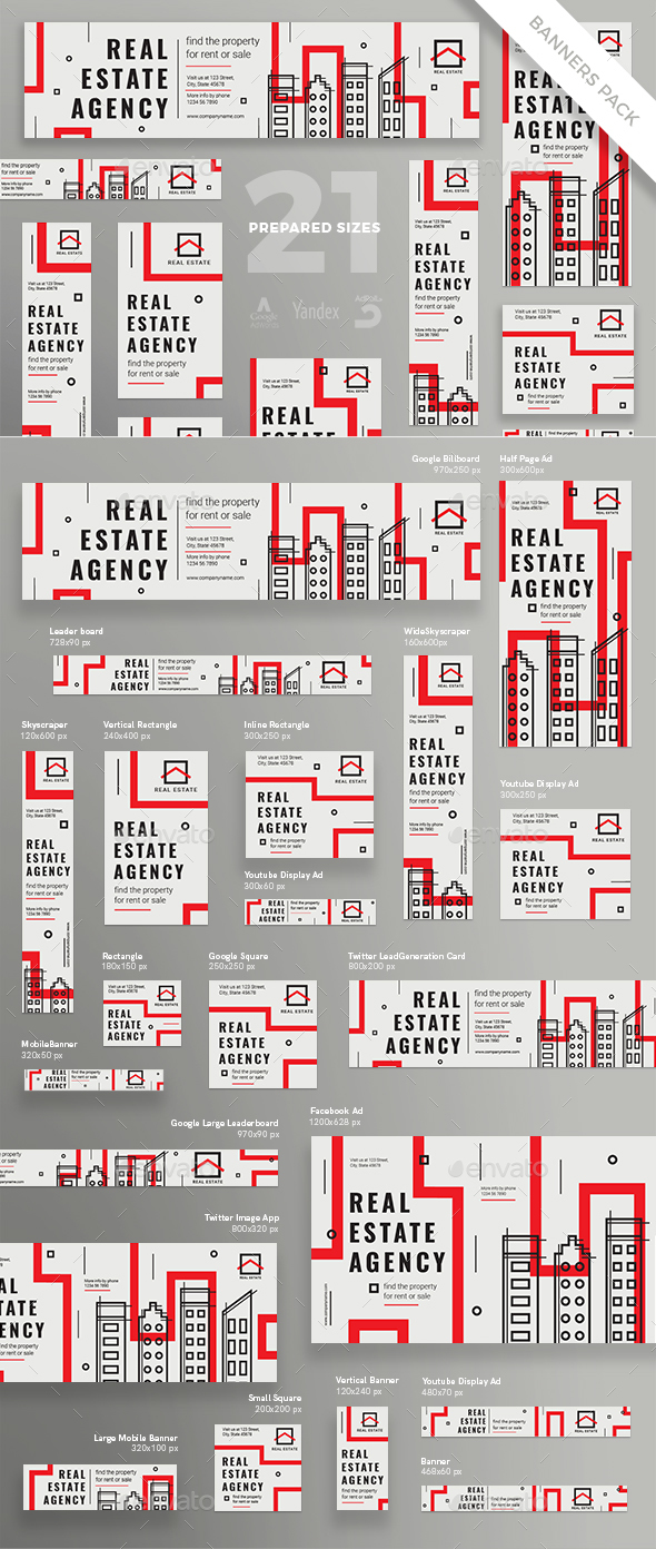 Real Estate Agency Banner Pack - Banners & Ads Web Elements