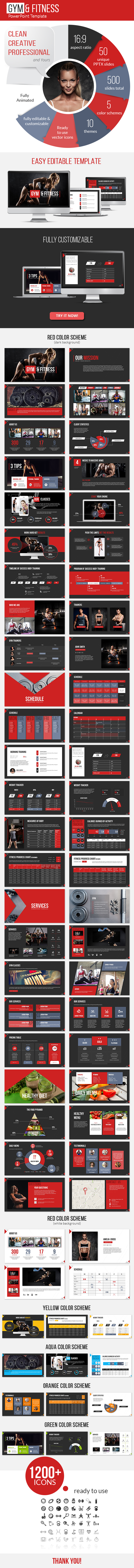 Gym and Fitness PowerPoint Presentation Template - Business PowerPoint Templates