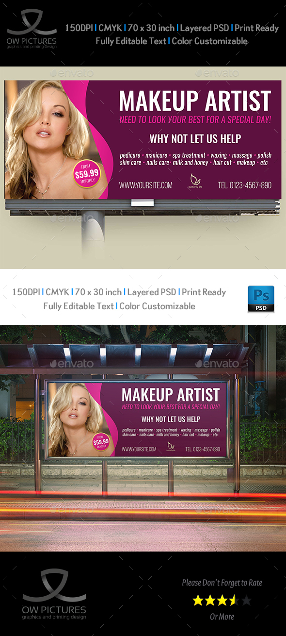 Beauty Center Billboard Template Vol.2 - Signage Print Templates