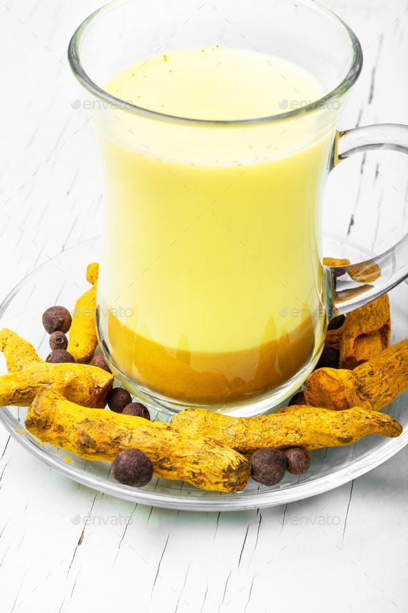 Healthy golden milk - Stock Photo - Images
