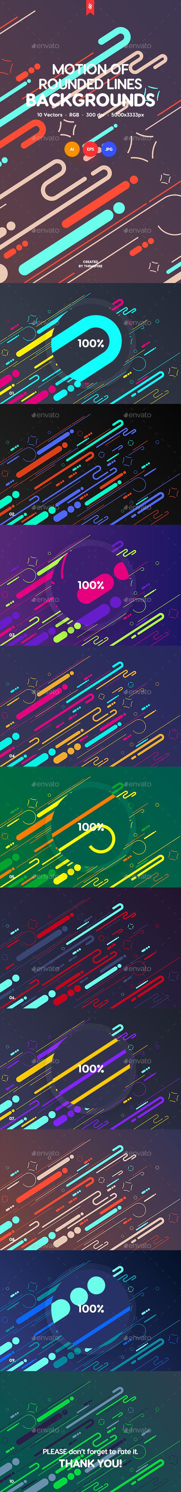 Motion of Rounded Lines Backgrounds - Abstract Backgrounds