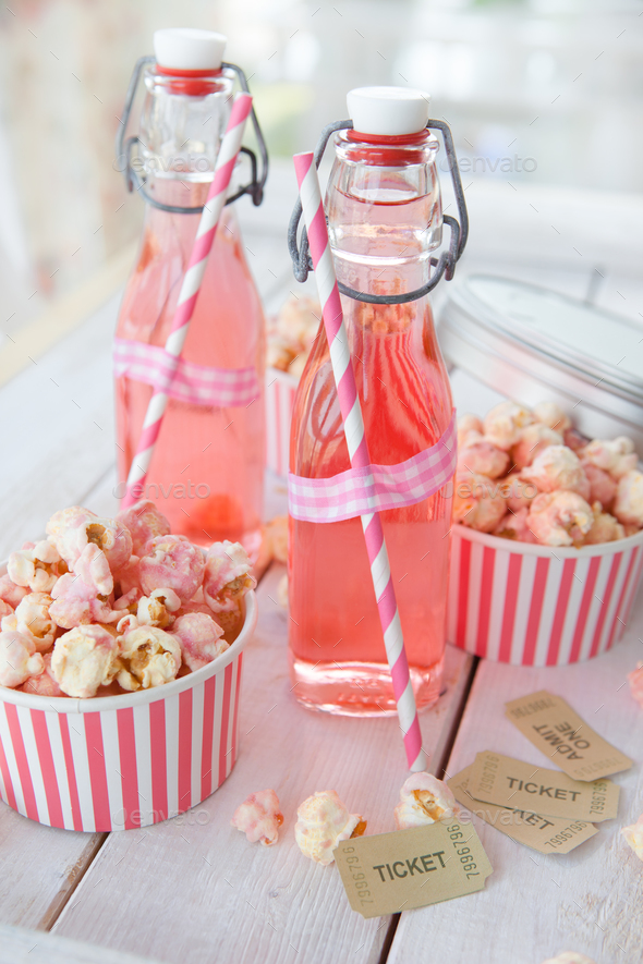 Popcorn and lemonade - Stock Photo - Images