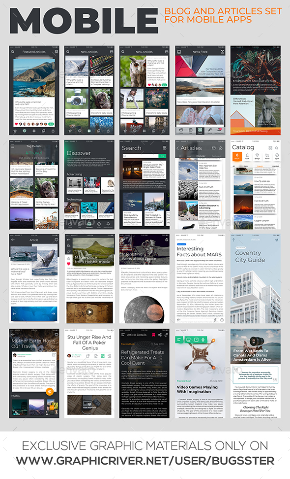 Mobile Blog and Articles Set for Apps - User Interfaces Web Elements