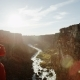 Two Rock Climbers Hanging Off of Ropes in Canyon with Sun Flare - VideoHive Item for Sale