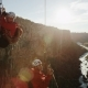 Two Rock Climbers Ascending Ropes While Canyoneering Sun Setting in - VideoHive Item for Sale