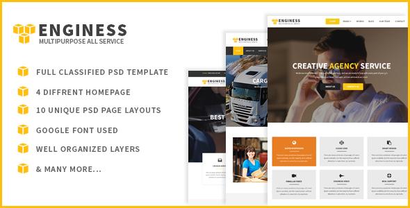 Enginess - Multipurpose PSD Template for Business - Business Corporate