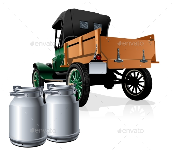 Vector Retro Delivery Milk Truck - Man-made Objects Objects