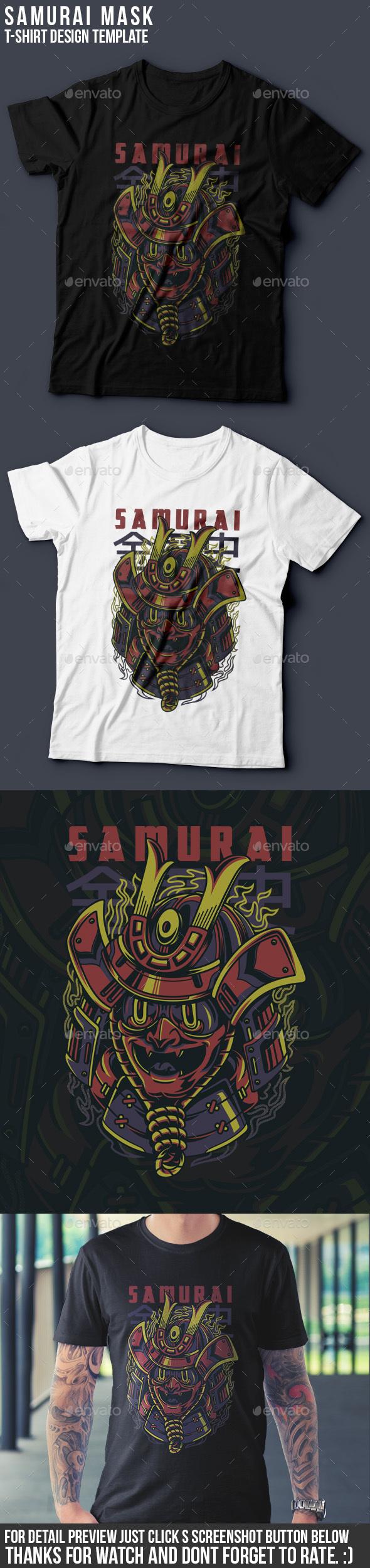 Samurai Mask T-Shirt Design - Grunge Designs