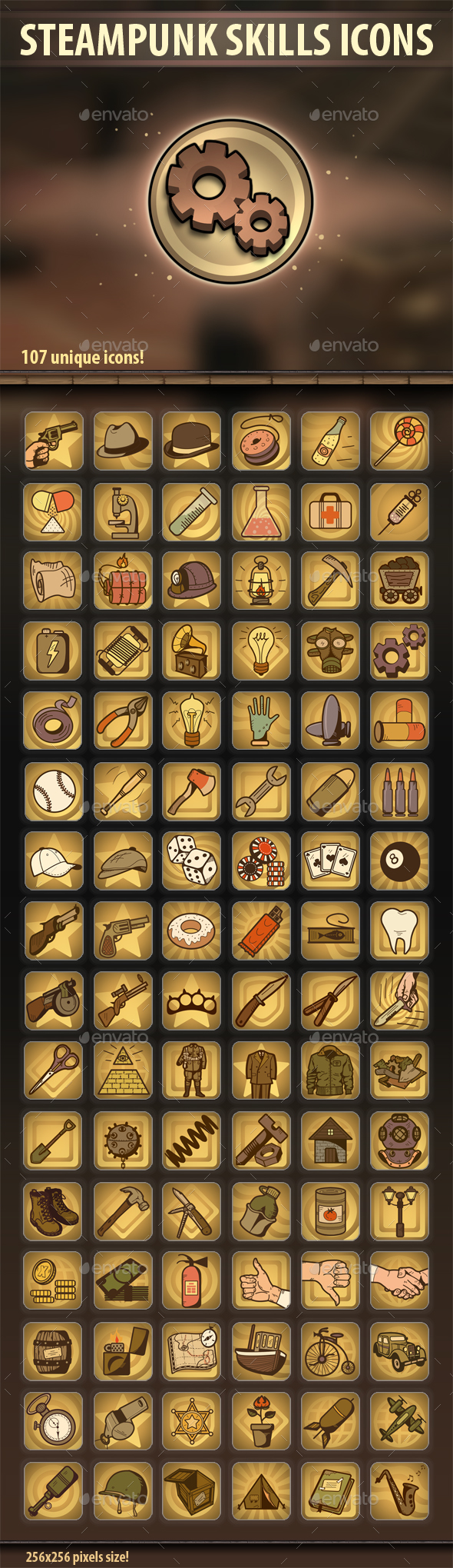 Steampunk Skills Icons - Miscellaneous Game Assets