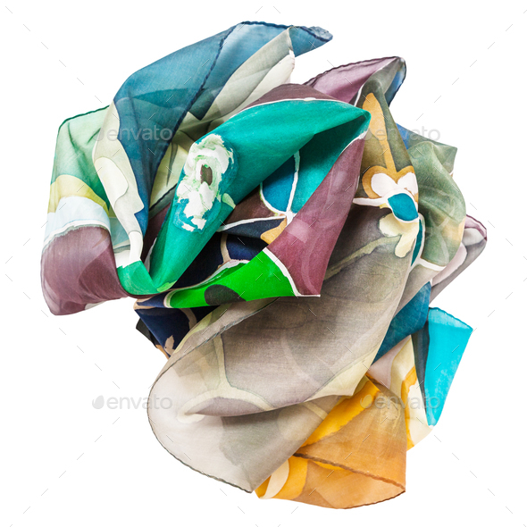 crumpled hand painted batik silk scarf isolated - Stock Photo - Images