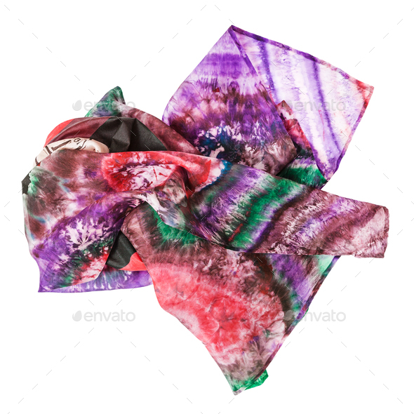 crumpled pink batik headscarf isolated - Stock Photo - Images