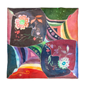 top view of hand painted batik silk headscarf - PhotoDune Item for Sale