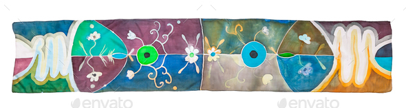 top view of batik silk scarf with floral pattern - Stock Photo - Images