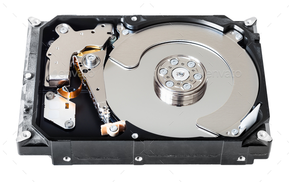 disassembled internal sata hard disk drive - Stock Photo - Images