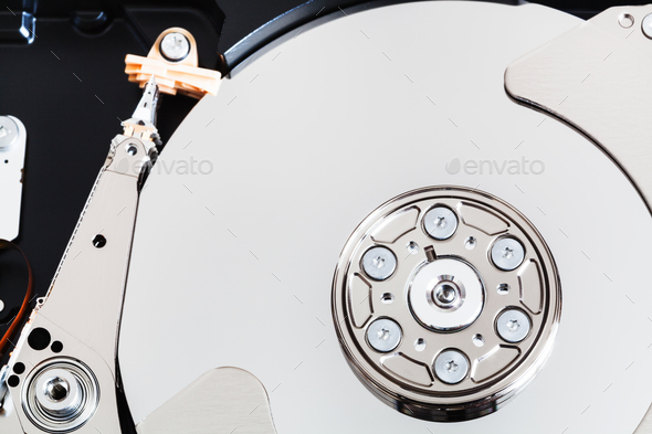 top view of open internal sata hard disk drive - Stock Photo - Images