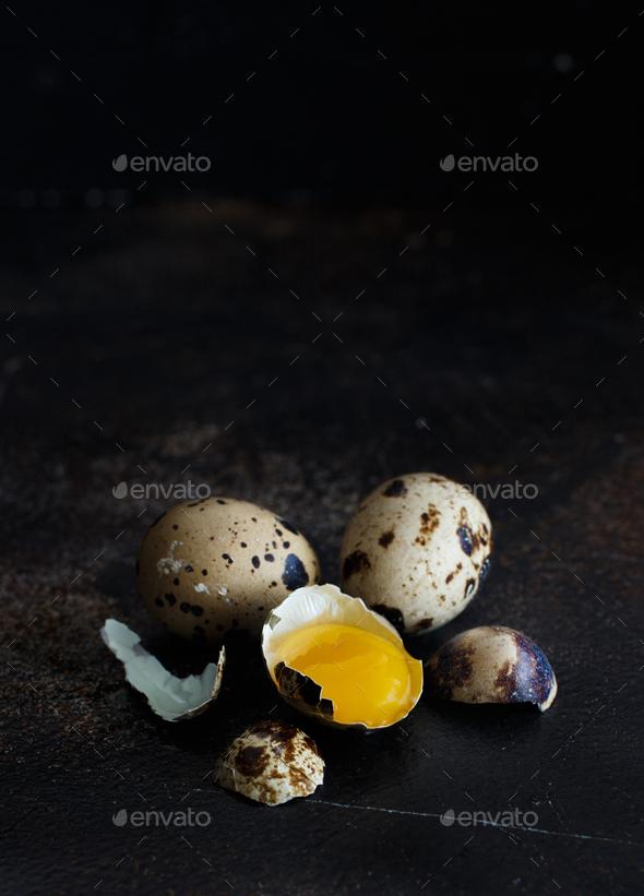 Quail eggs close up - Stock Photo - Images