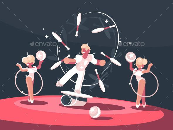 Artist Juggler in Circus Arena - People Characters