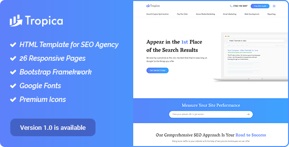 Image of SEO Tropica – SEO Template for SEO and Digital Agency