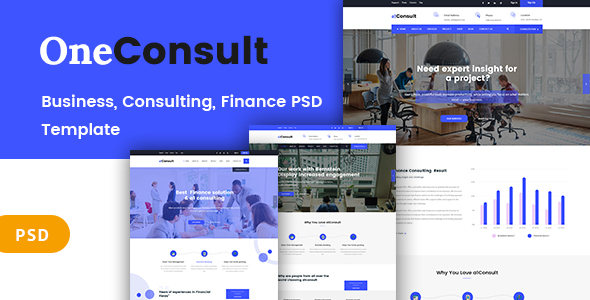 OneConsult  - Business Consulting and Finance PSD Template - Business Corporate