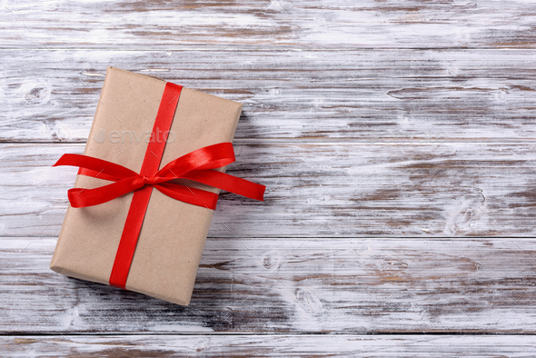 gift box with red ribbon - Stock Photo - Images