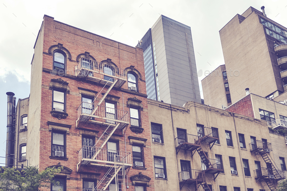 Vintage toned picture of buildings in New York. - Stock Photo - Images