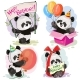 Happy Birthday Vector Set with Baby Panda Bears