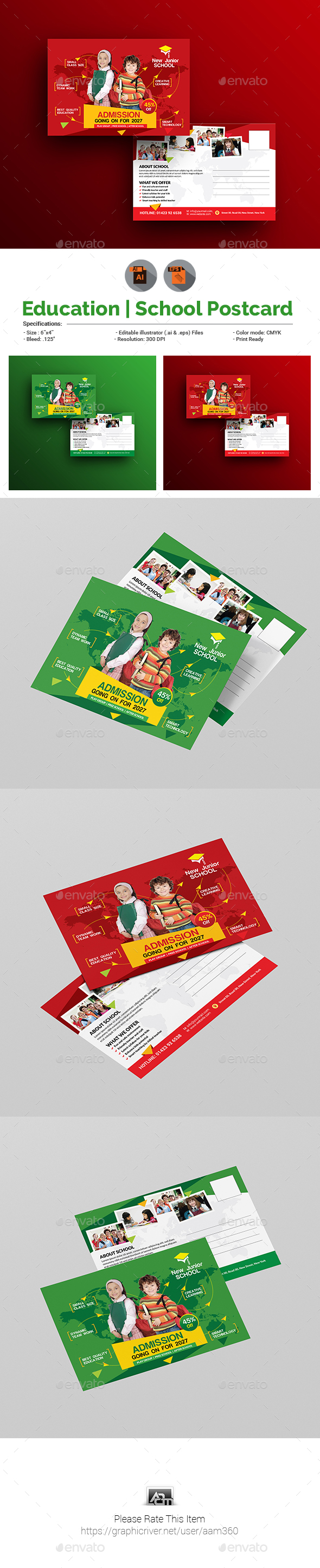 Junior School Promotional Postcard Template - Cards & Invites Print Templates