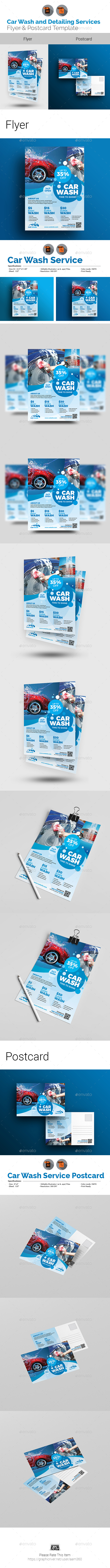 Car Wash and Auto Detailing Flyer & Postcard Bundle - Print Templates