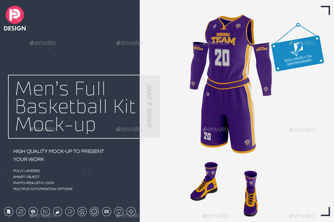 Men's Full Basketball Kit Wishbone Collar Jersey Mock up