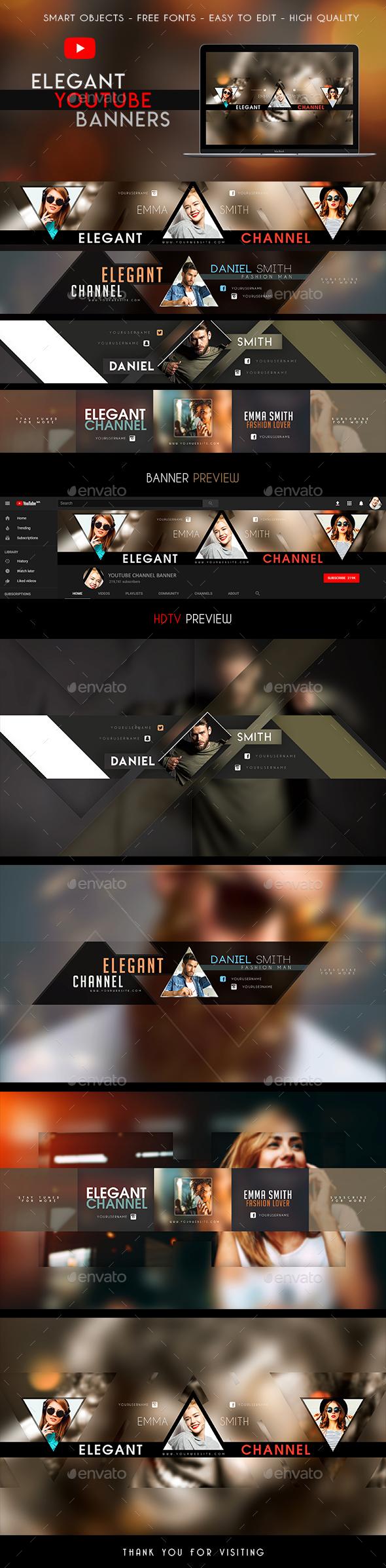 4 Elegant YouTube Banners - YouTube Social Media