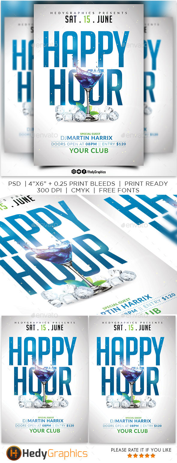 Happy Hour Flyer Template By Hedygraphics Graphicriver