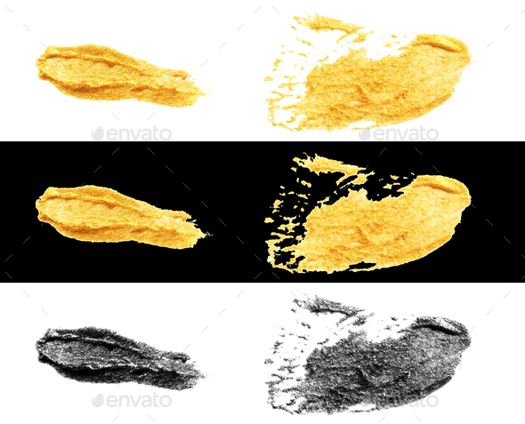hand drawn gold and black colors paint smear stain stroke - Stock Photo - Images