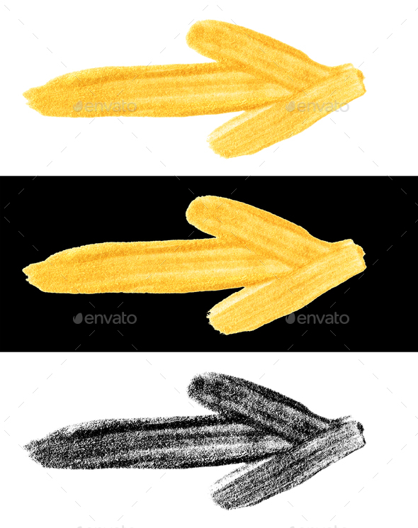 hand drawn gold and black colors painted smear arrows - Stock Photo - Images