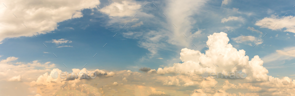 Fantastic panoramic white clouds against blue sky - Stock Photo - Images