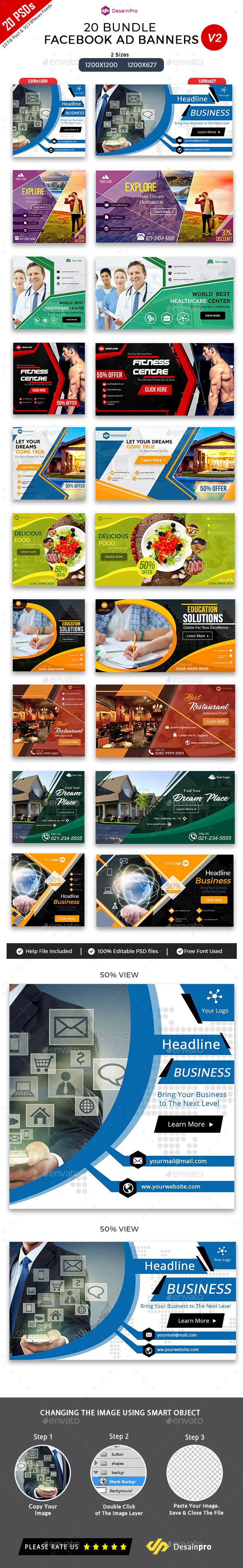 20 Facebook Ad Banners V2 Bundle - AR - Social Media Web Elements