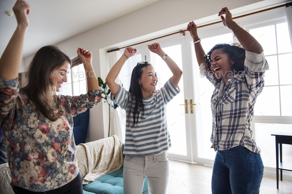 Diverse women dancing together - Stock Photo - Images