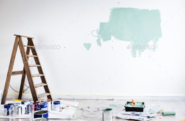 House renovation wall coloring - Stock Photo - Images