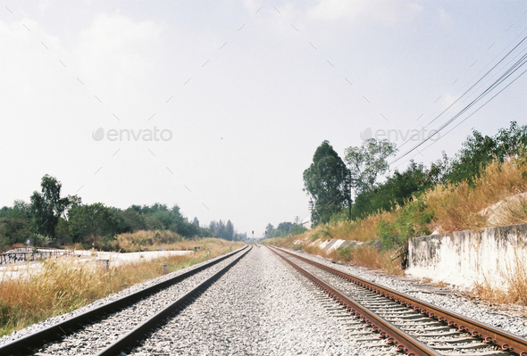 Rail road guding to new destination - Stock Photo - Images